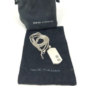 David Yurman Sterling Silver Dog Tag and Chain